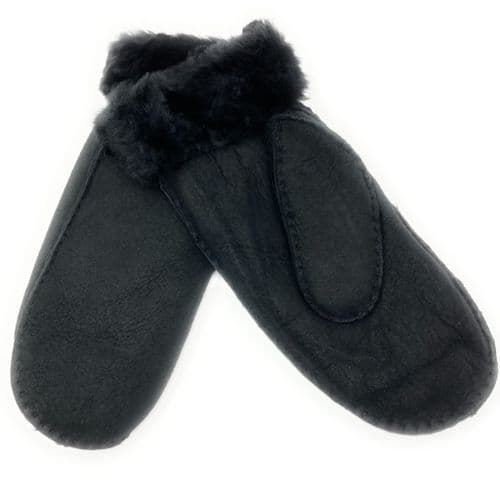 Black Sheepskin Mittens