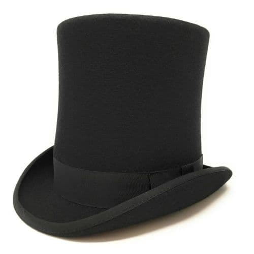 "Black Stovepipe Wool Felt Top Hat 8"" Tall"