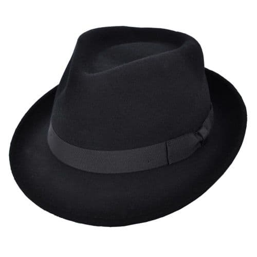 Black Trilby Hat: Handmade Wool Felt Crushable - Camden