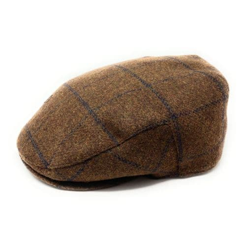 Brown Cheshire Wool Check Tweed Flat Cap