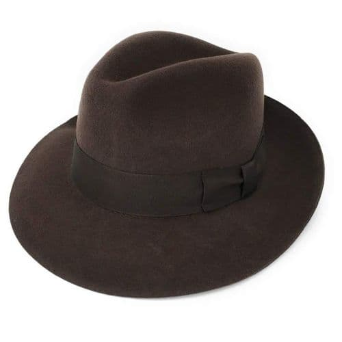 Brown Snap Brim Wool Fedora Hat - Midford