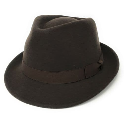 Brown Trilby Hat: Handmade Wool Felt Crushable - Camden