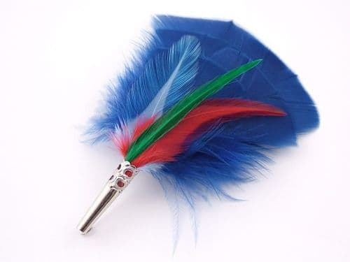Country Feather Brooch - Blue Cocktail