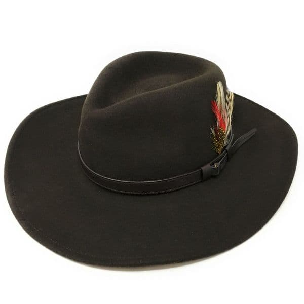 Cowboy Fedora Hat with Removable Feather - Brown