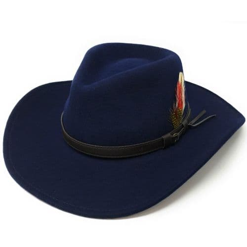Fedora Cowboy Hat Crushable Safari with Removable Feather - Navy