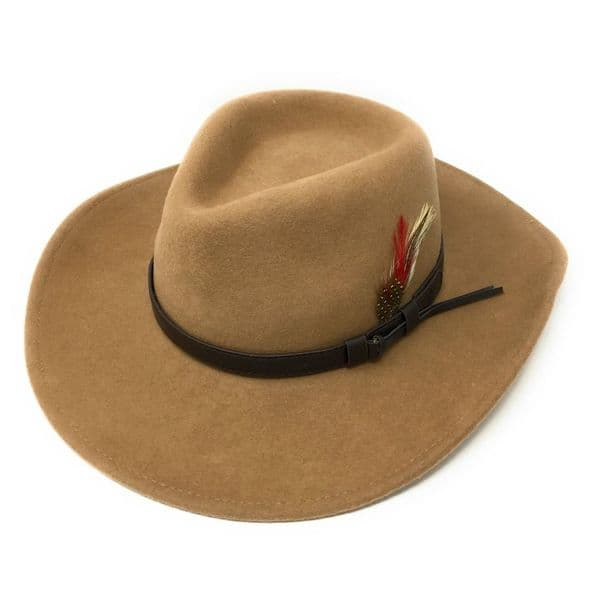 Fedora Cowboy Hat Crushable Safari  with Removable Feather - Camel