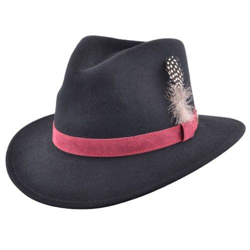 Fedora Hat: Black with Raspberry Velvet Band and Removable Feather