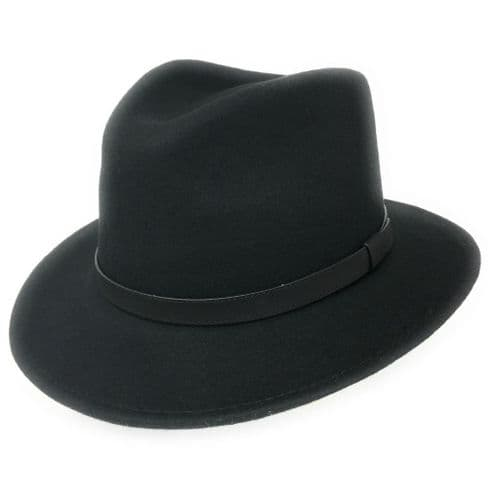Fedora Hat Crushable Wool Felt with leather band - Black - Haydock