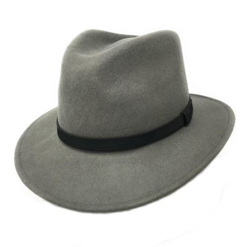 Fedora Hat Crushable Wool Felt with leather band - Grey - Haydock