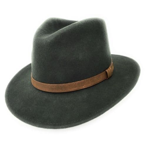 Fedora Hat Crushable Wool Felt with Leather Belt Trim - Dark Green - Haydock