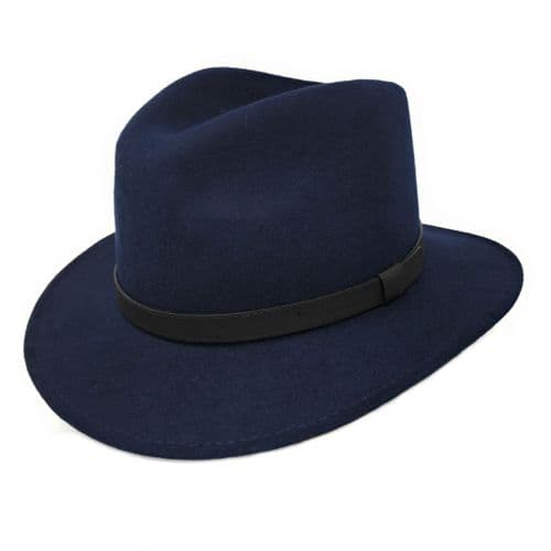 Fedora Hat Crushable Wool Felt with Leather Belt Trim - Navy - Haydock
