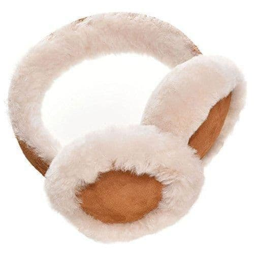 Genuine Sheepskin Earmuffs With Gift Box - Tan