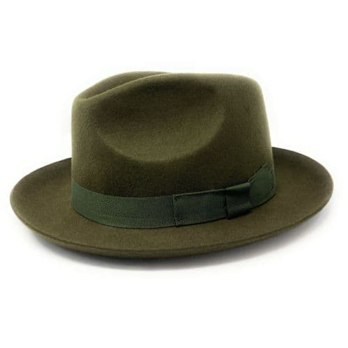 Green Snap Brim Classic Racing Trilby Hat - Cheltenham