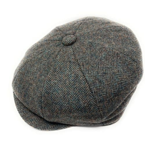 Grey Herringbone Tweed Bakerboy Cap