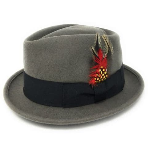 Grey Pork Pie/Trilby Hat - Diamond Crown. Lined. Premium Wool
