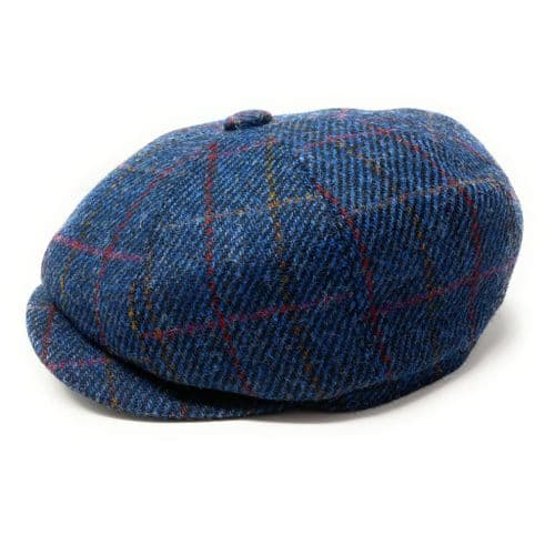 Harris Tweed Wool Bakerboy Cap - Blue Herringbone Check