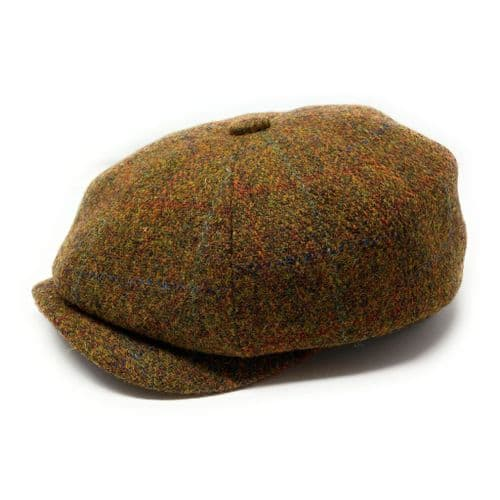 Harris Tweed Wool Bakerboy Cap - Brown Check