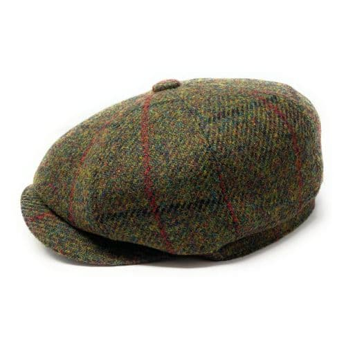Harris Tweed Wool Bakerboy Cap - Green Check
