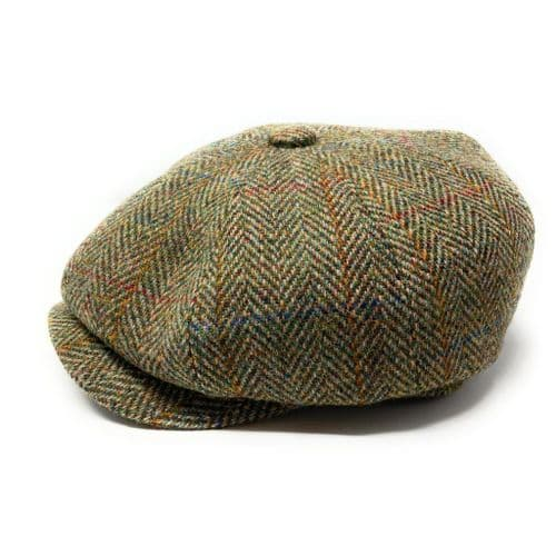 Harris Tweed Wool Bakerboy Cap - Green Herringbone Check