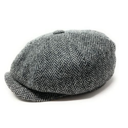 Harris Tweed Wool Bakerboy Cap - Grey Herringbone