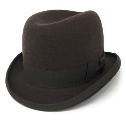 Homburg Hat - Wool - Brown