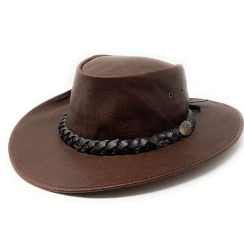 Jacaru 1001P Premium Kangaroo Leather Hat - Brown