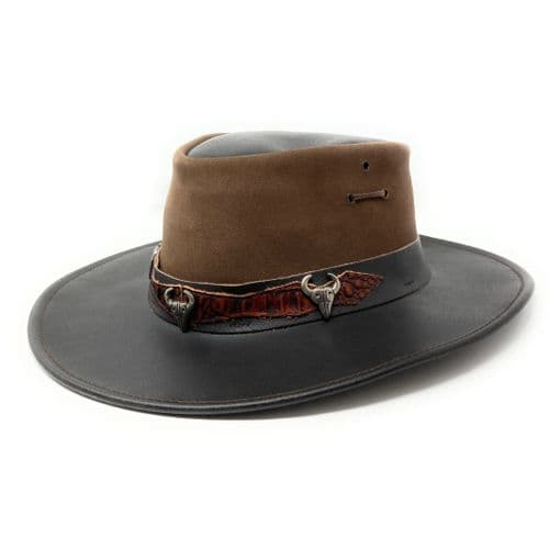 Jacaru Rodeo Hat  with Chin Strap - 1079 - Leather - Brown