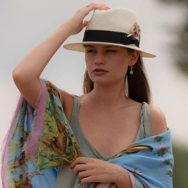 Ladies Panama Style Summer Hat with Removable Feather Brooch - Cream - Dovecote