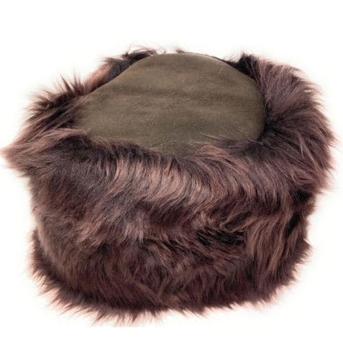 Ladies Sheepskin Cossack Style Snow Queen Hat - Brown Kineton