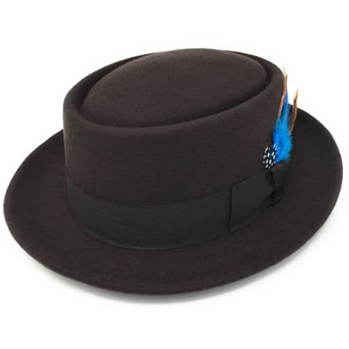 Lined Brown Pork Pie Hat -  Premium Wool