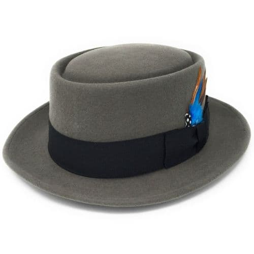 Lined Grey Pork Pie Hat -  Premium Wool