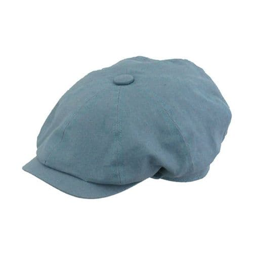 Linen Gatsby 8-piece Cap - Fully Lined - Marine Blue