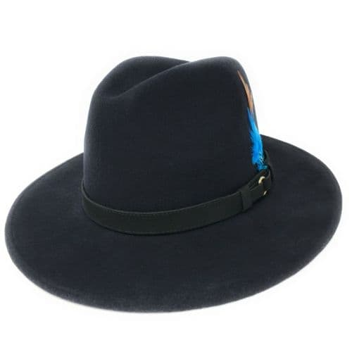 Navy Fedora Hat, Showerproof, Wool - Ranger