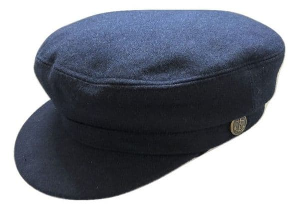 Navy Melton Wool Mariner Fisherman Cap with removable rope