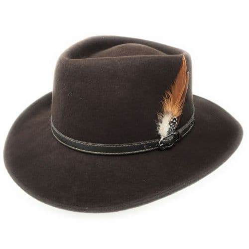 Outback Brown Fedora Showerproof Hat
