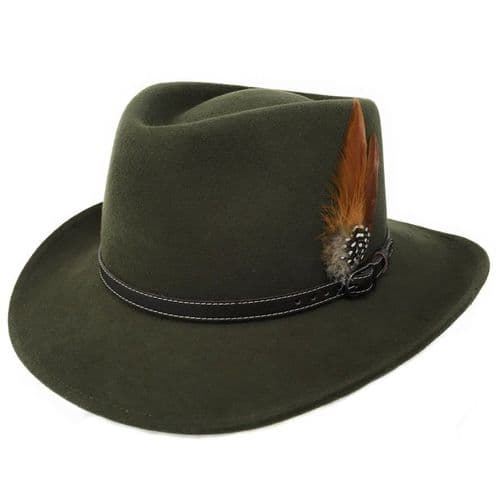 Outback Green Fedora Showerproof Hat