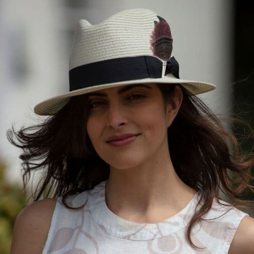 Panama Style Summer Hat with Removable Feather Brooch - Cream - Nethercote