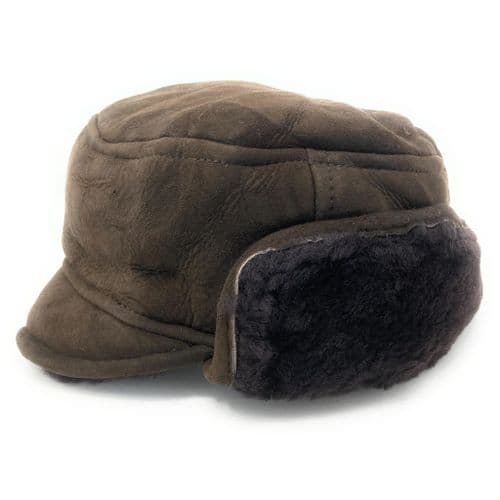 Sheepskin Suede Genuine Leather Trapper Hat - Brown