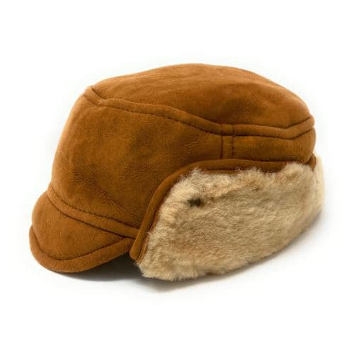Sheepskin Suede Genuine Leather Trapper Hat - Tan