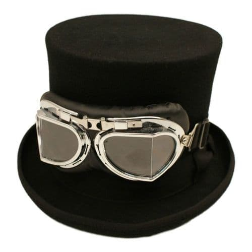 Steampunk Black Top Hat and Goggles