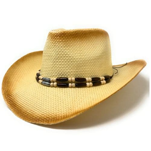Straw Cowboy Hat  with Bead Head Band