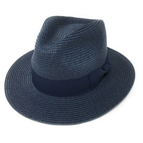Straw Fedora Summer Hat - Navy