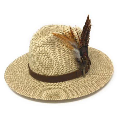Summer Fedora Hat with Leather Band and Removable Feather Brooch - Kingham