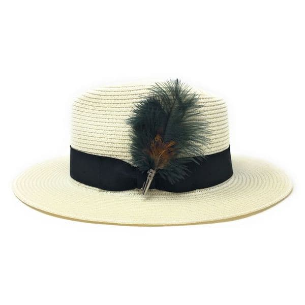 Summer Hat  with Removable Green Feather Brooch - Cream - Sherston
