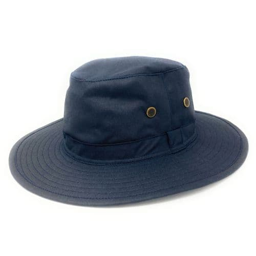 Waxed Cotton Rain Hat - Navy - Waxed Rambler