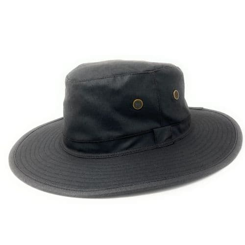 Waxed Cotton Water Resistant Rain Hat - Brown - Waxed Rambler