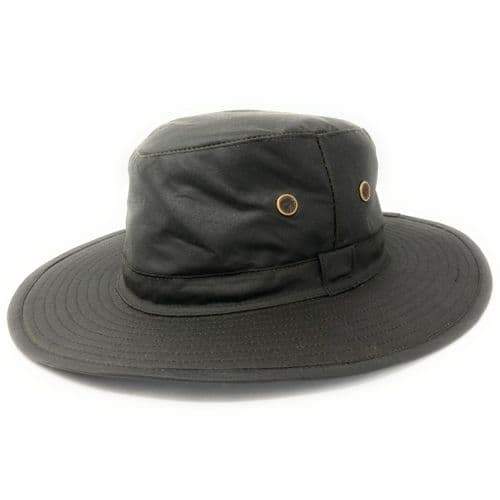 Wide Brim Water Resistant Hat - Green - Waxed Rambler
