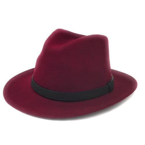 Wine Fedora Hat With Leather Band - Haydock