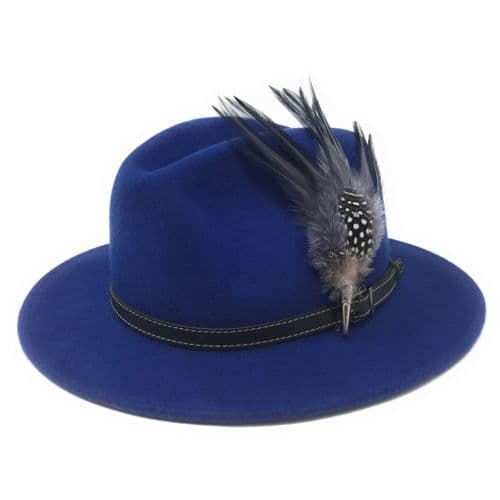 Women's Wool Blue Fedora Hat with Leather Belt Trim and Country Feather Brooch - Charlbury