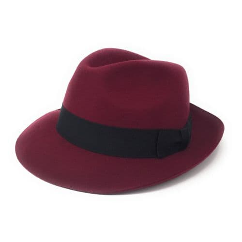 Women's Wool Burgundy Snap Brim Fedora Hat - Midford